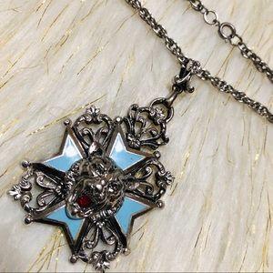 Vintage Silver Metals Cross Tiger head Necklace